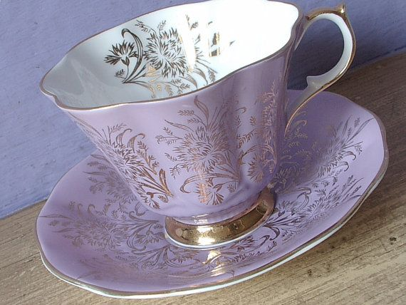 Rare Antique Queen Anne lavender purple tea cup by ShoponSherman, $55.00