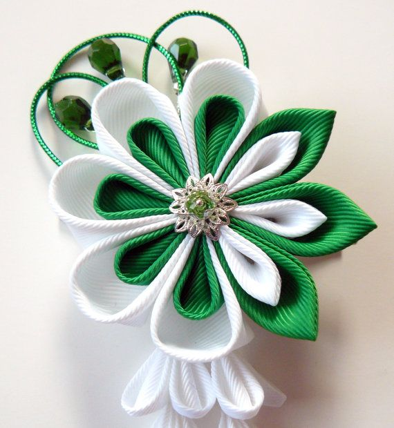 Kanzashi Fabric Flower hair clip with falls. Green and by JuLVa