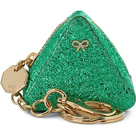 ANYA HINDMARCH Crinkled triangle coin purse (Emerald
