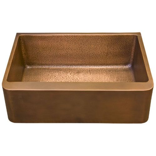 "Raina Copper Farmhouse Sink with Smooth Exterior / Hammered Interior - 25"", 30"", 33"", 36"""
