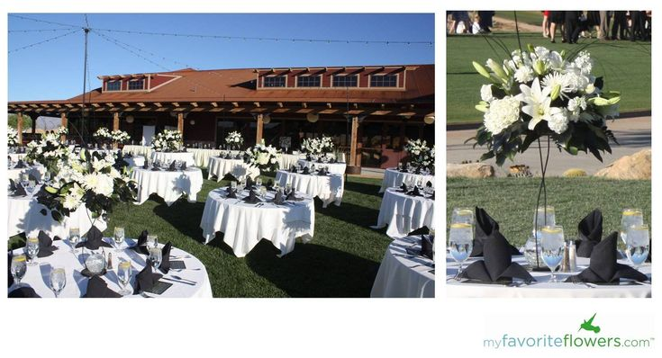 Black and white tall wedding centerpiece