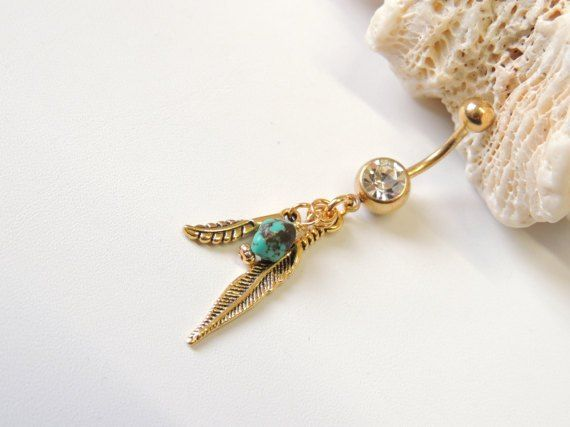 Gold Feather Dangle Belly Ring with Turquoise Handcrafted
