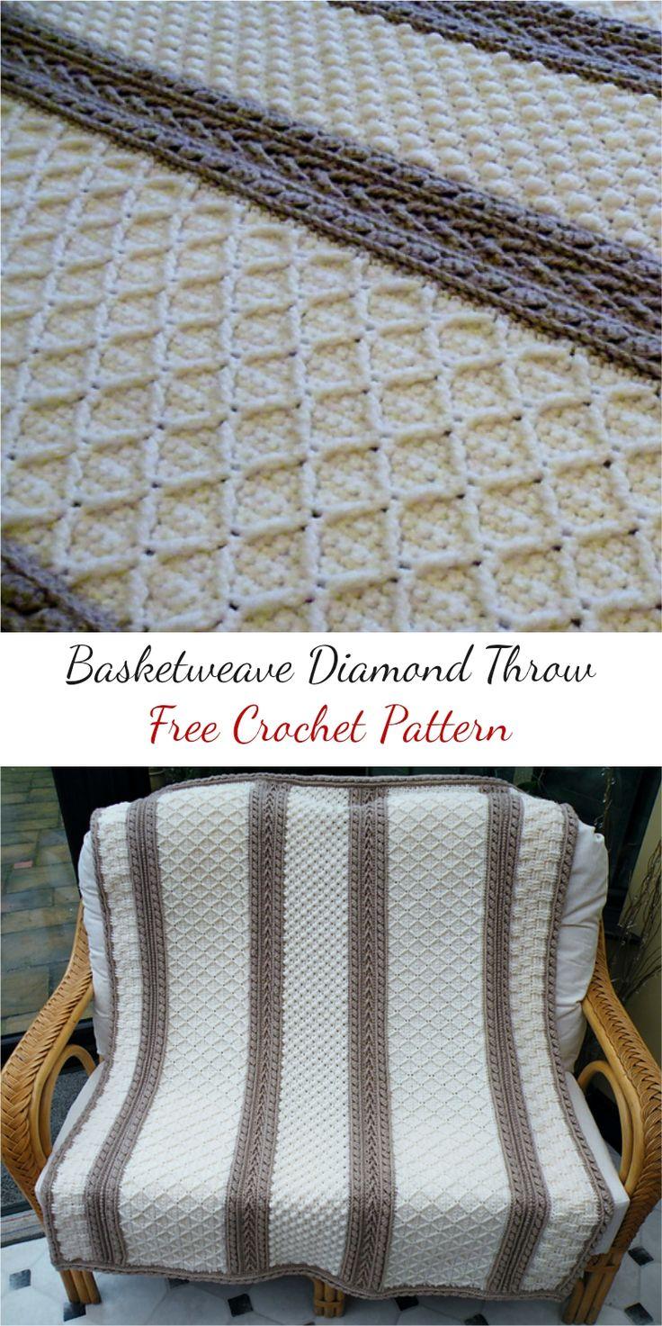 Basketweave Diamond Throw [Free Crochet Pattern] #crochet #freepattern #crochetpattern