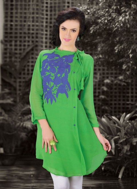 Light Green Faux Georgette Designer Readymade Kurti