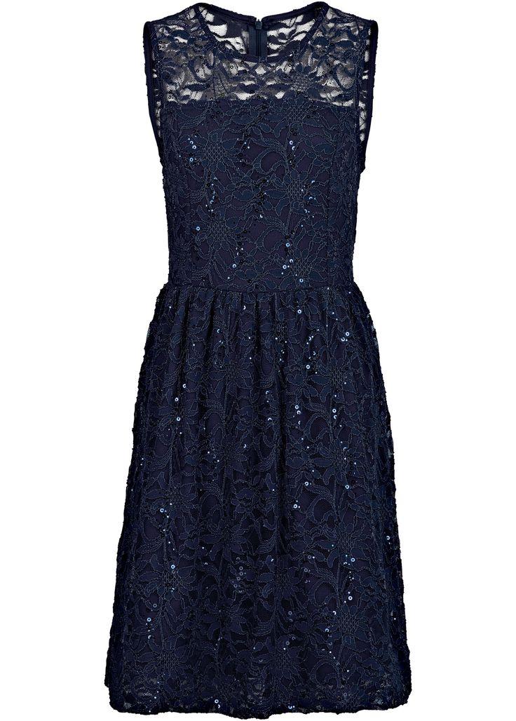 Jurk blauw - BODYFLIRT boutique nu in de onlineshop van bonprix.nl vanaf ? 47.99 bestellen. Eyecatcher! Mouwloze jurk met prachtige kant, uitlopende rok en ...