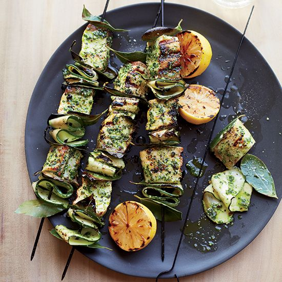 Swordfish Skewers with Salsa Verde | Spend Labor Day weekend cooking up a feast, including these salmon skewers and this very delicious chocolate-crusted plum galette.