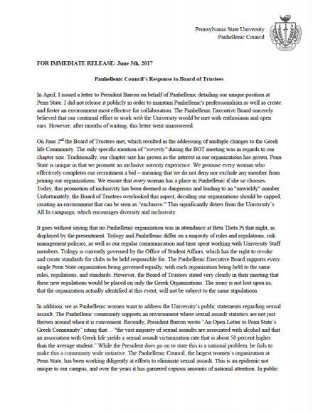 Panhellenic Council Pens Letter On New Greek Life Reform - Onward State