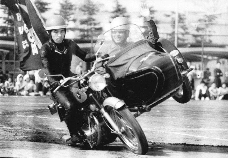 Soichiro Honda in sidecar.
