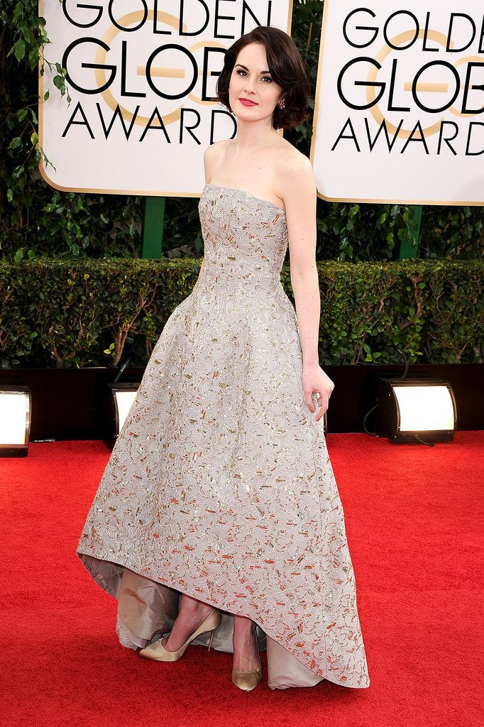 Michelle Dockery Remains a Lady at the Golden Globes: Michelle Dockery looked as elegant as ever in Oscar de la Renta on Sunday when she arrived at the 2014 Golden Globes in LA.