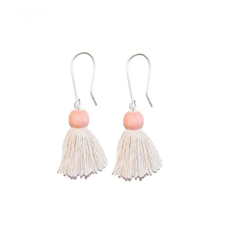 Pocelain Tassel Earrings - Pink - Indigos Market