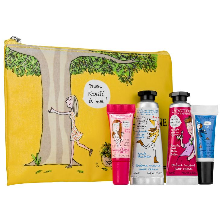 Shop L'Occitane's Hugs & Kisses Hand & Lip Duo at Sephora. This limited-edition collection of two hand and lip duos comes packaged in a cute travel pouch.