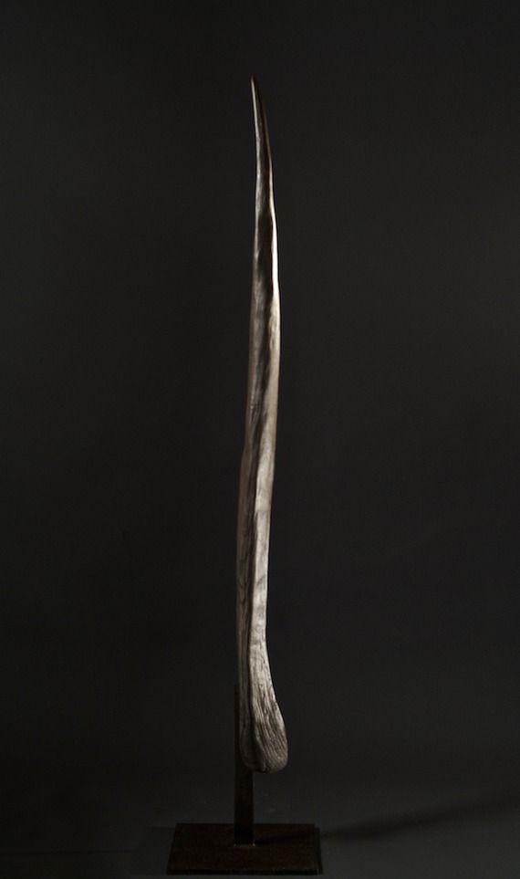 totem sculpture bois brûlé chêne