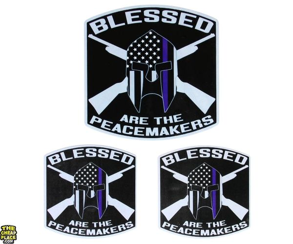 Blessed Are The Peacemakers Thin Blue Line Spartan Helmet Police Sticker