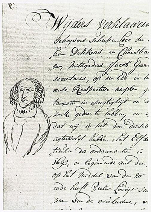 potloodtekening van een vrouw met parelsnoer in de marge van een akte van 4 januari 1782, mogelijk van de hand van de substituut-secretaris Jacob Gerrid de Haas - 1782