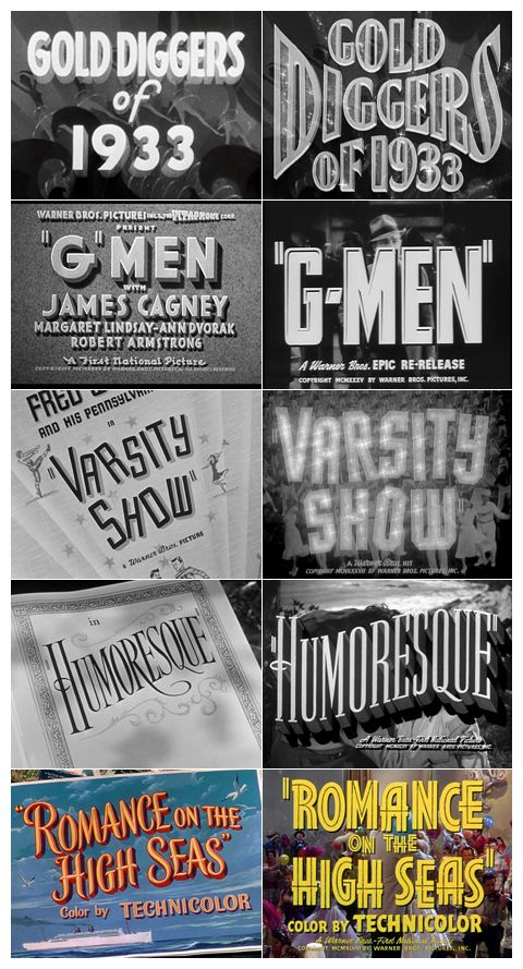 Warner Bros. trailer typography (1930-1954)