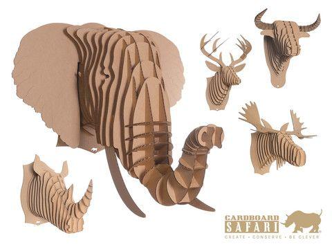 Nye Gadgets - Cardboard Safari Dyrehoved, Dyrehoved i karton til trofævæggen!