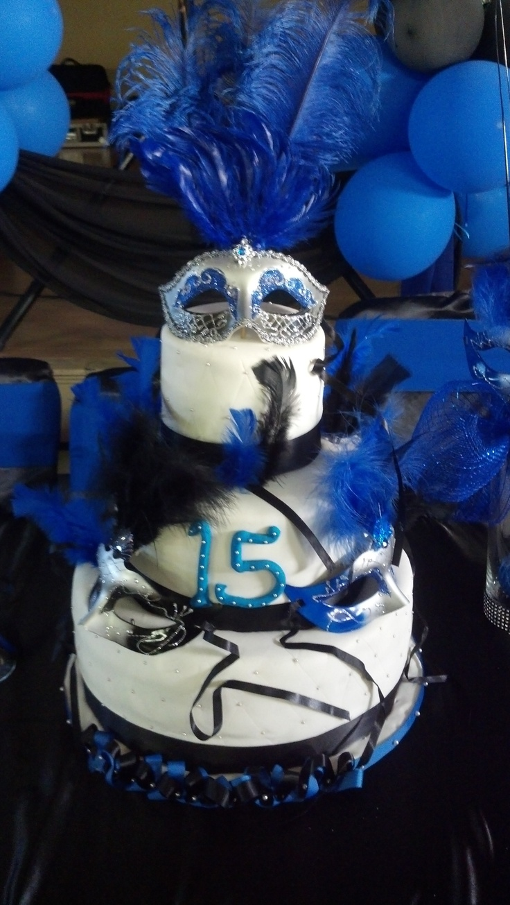 Masquerade Theme Quinceanera Cake In Blue Party Ideas Pinterest