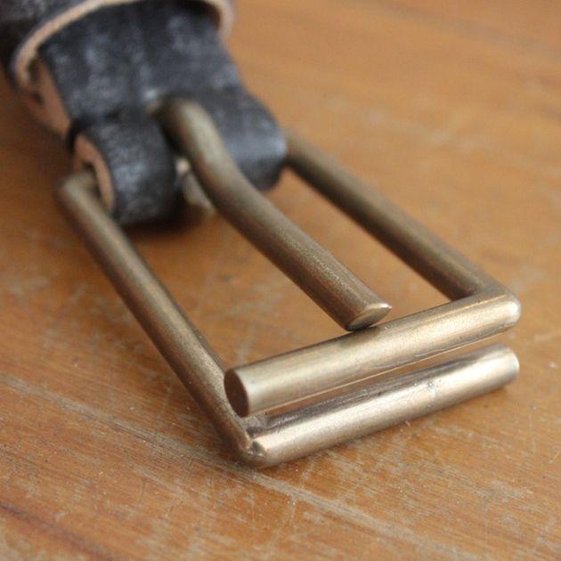 Tender Co. Black Grain Oak Bark Leather Bronze Frame Buckle Belt