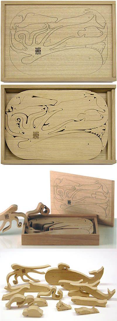 Enzo Mari: 16 Pesci Italian Modern Design Wooden Puzzle | NOVA68 Modern Design