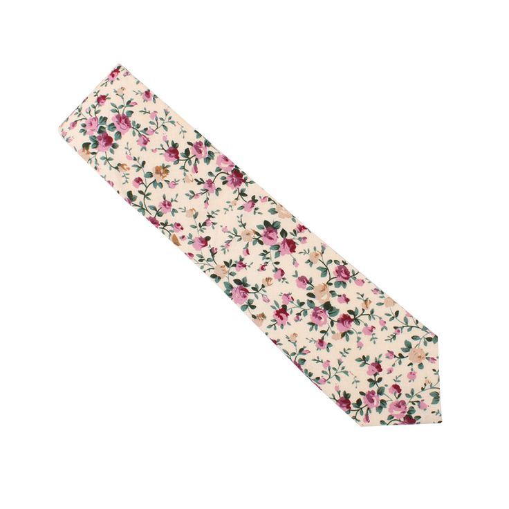 The cream colours mixed with the light pinks found in this Pastel Pink Floral Rose #Skinny #Tie look great in the spring.