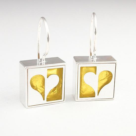 """Half Heart Earrings""  Silver & Gold Earrings created by Victoria Varga on Artful Home"