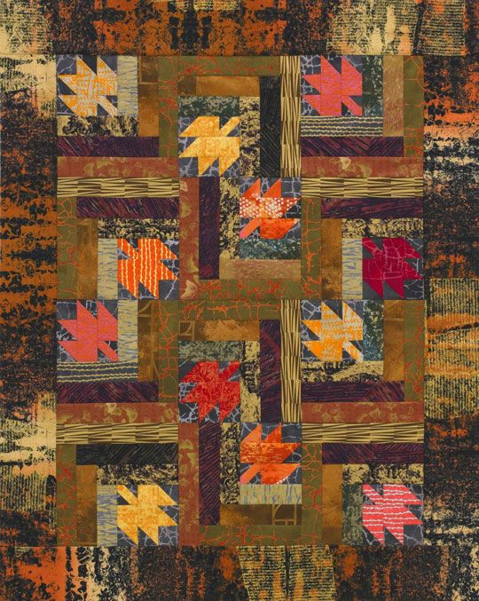 Maple Leaf Log Cabins: Logs Cabin Quilts, Quilts Patterns, Wall Quilts, Log Cabins, Fall Quilts, Leaf Logs, Free Patterns, Maple Leaves, Quilts Projects