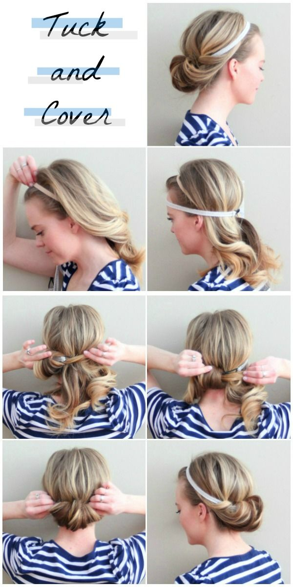 Tuck and Cover: This is super easy!!! 5 minute hairstyle! I used thicker headbands & I can't believe how well they stay put when doubled up like this.   The only recommendation I would make is to leave a few bangs out to soften the look a little.   This is a new favorite of mine!
