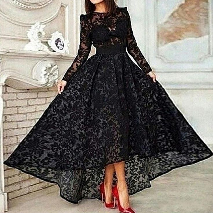 Vestido Black Hi-lo Long Sleeves Prom Dresses Sheer Lace Evening Gowns 2016…