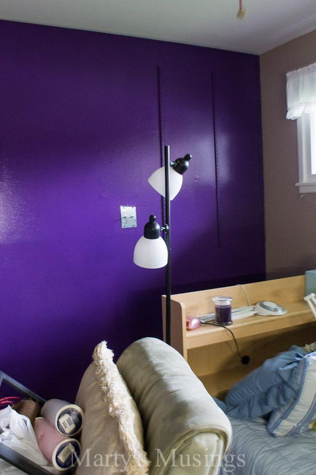 Bedroom With Purple Accent Wall