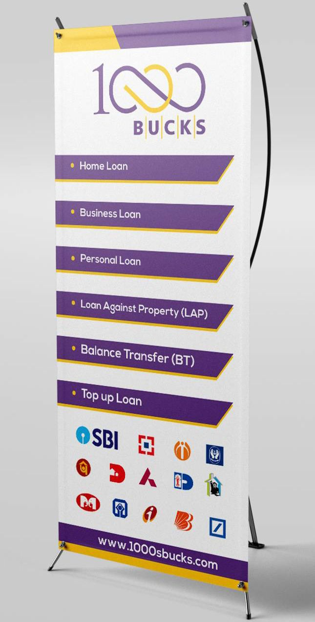 Standee Designed For 1000bucks Finance Company It Features The Key Usps And The Approved Banks Standee Design Finance Pamphlet Design