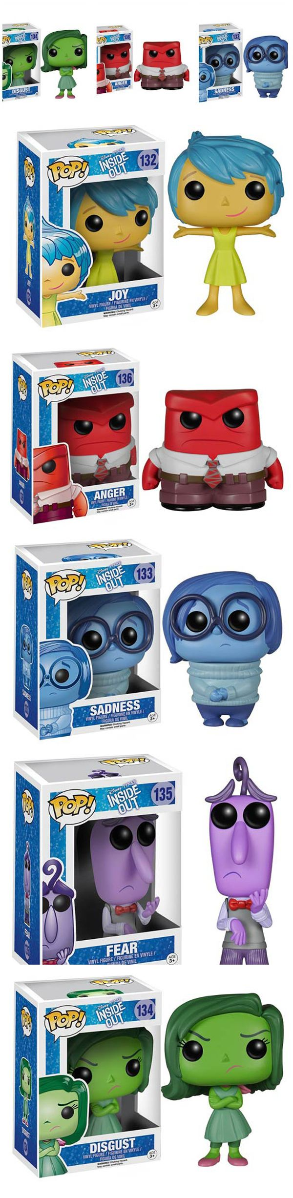 """The New Funko POP!s For Pixar's """"Inside Out"""" Are As Cute As You Would Expect Pixar's newest movie Inside Out already looks like will have that mix of adorable, comedic, and serious that we've come to appreciate from Pixar. It's the adorable that really comes into play with these new Funko POP!s of Riley's inner feelings; Anger, Joy, Despair, Sadness, and Fear. Read more at…"""