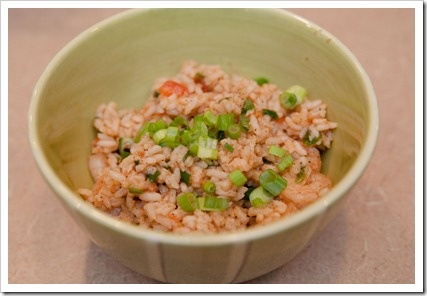 CAJUN SHRIMP AND RICE    1 tbsp. butter    2 tbsp. extra virgin olive oil    3 cloves garlic, minced    2 tbsp. cajun seasoning {I used Tony Chachere's}    1 lb. large shrimp, peeled & deveined {I used frozen…SO easy :)}    salt & pepper, to taste    4 plum tomatoes, chopped    2 bunches green onions, chopped    3 cups cooked white rice {I used 2 bags of boil in a bag rice}