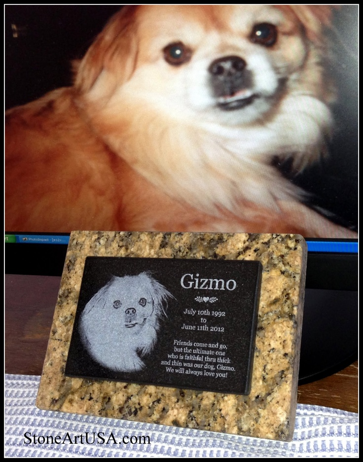 R.I.P. Gizmo  small garden marker by StoneArtUSA.com New Ideas for Pet Grave Stones ... Custom made memorial stones & cremation urns for pets. The granite is laser etched with your pet's photo and your words. Markers will stay beautiful for generations in the yard or cemetery. Memorial stones can be made for people too as well as for our beloved dogs, cats & all pets. See more at www.StoneArtUSA.com Let me know if you have any questions, Eric @ StoneArtUSA