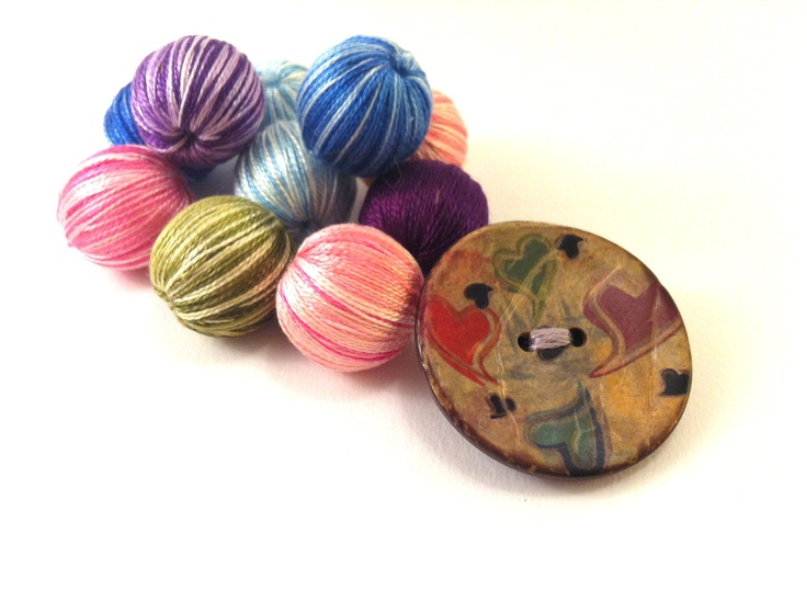 Colorful wooden button brooch with hearts by Mariabuttons on Etsy