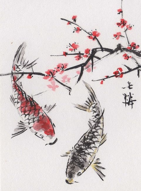 Lin Li's Chinese Art: Original Art ACEO Watercolor Painting KOI Plum Blossoms