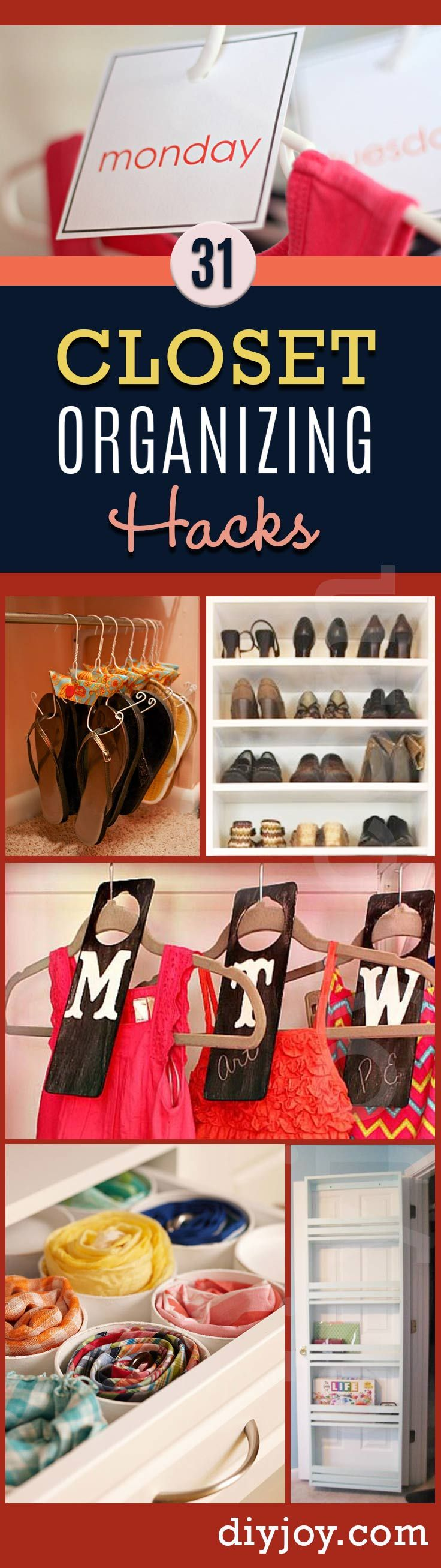 DIY Closet Organizing Tips - DIY Closet Organization Ideas for Messy Closets and Small Spaces. Organizing Hacks and Homemade Shelving And Storage Tips for Garage, Pantry, Bedroom., Clothes and Kitchen http://diyjoy.com/diy-closet-organization-ideas