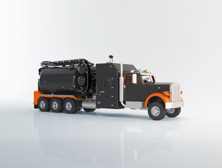 3D Rendering of a hydrovac truck