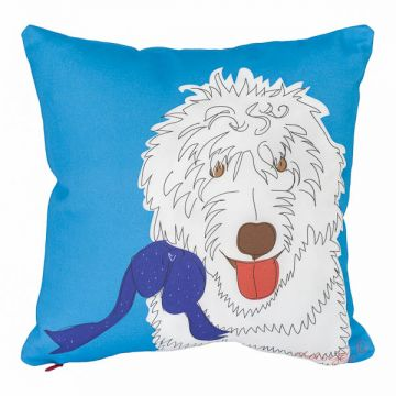 Sweet labradoodle on skyblue background. Printed on both sides with eco-friendly inks. 12x12 cotton twill pillow with or without faux-down insert. Order now: http://troskodesign.com/shop/throw-pillow-labradoodle-made-in-usa/