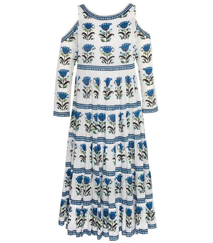 $295 White dress featuring a contrast blue flower printed pattern throughout. ShopBazaar, shop designer clothing, shoes and accessories selected exclusively by the editors at Harper's Bazaar.