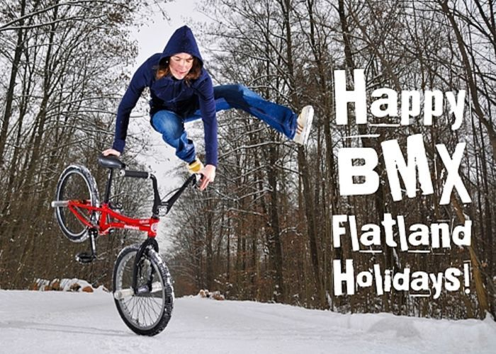 "Happy BMX Flatland Holidays Greeting Card for sale. Monika Hinz (multiple BMX Masters winner, category Girls Flatland) doing a jump in winter. Our premium-stock greeting cards are 5"" x 7"" in size and can be personalized with a custom message on the inside of the card. Give some BMX Flatland love to your friends and family!"