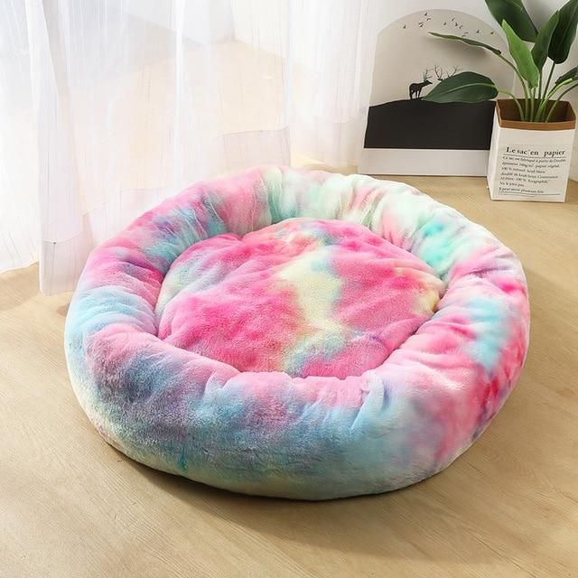 Round Plush Cat Bed House Soft Long Plush Cat Bed Round Pet Dog Bed For Small Dogs Cats Nest Winter Warm Sleeping Bed 1