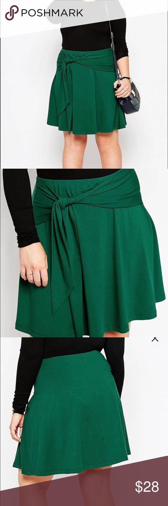 ASOS Curve skater skirt Brand new with tags green ASOS Curve skater skirt with tie front. Size US 16, 22 inches from waist to hem and a 17 inch waist. Has an elastic waist band, so PLENTY of stretch. ASOS Curve Skirts Circle & Skater