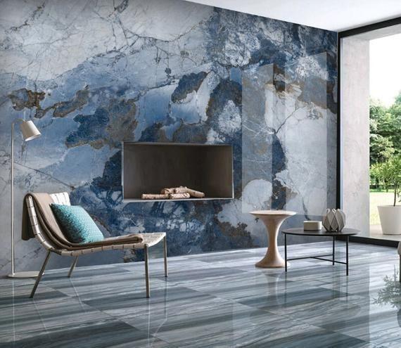 Abstract Marble 3d Photo Vinyl Wallpaper Self Adhesive Peel Etsy Vinyl Wallpaper Blue Marble Wallpaper Wallpaper Living Room