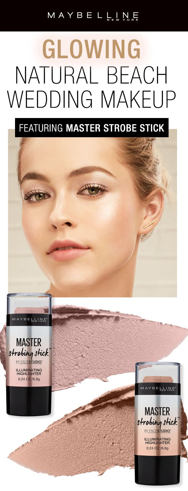 If you're having a beach wedding you need to make sure you have glowing skin for a natural wedding look! The Maybelline Master Strobing Liquid Stick is easy to apply for a natural highlight. The best part is you have four ways to glow: wear alone, mix with primer, mix with foundation, or spotlight high points of the face.