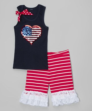 Another great find on #zulily! Navy Flag Tank & Ruffle Shorts - Infant, Toddler & Girls #zulilyfinds