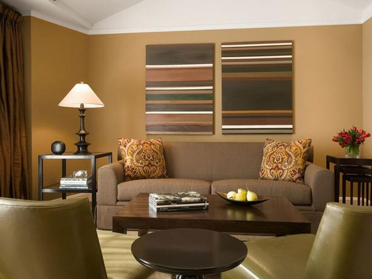 Living Room, Brown Accent Wall Patterned Picture Frames Brown 2 Seater Sofa Patterned Cushions Black Round End Table Vintage Table Lamp Square Wooden Coffee Table Simple Black End Tables Brown Leather Lounge Chairs: 8 Best Living Room Color Pattern Ideas