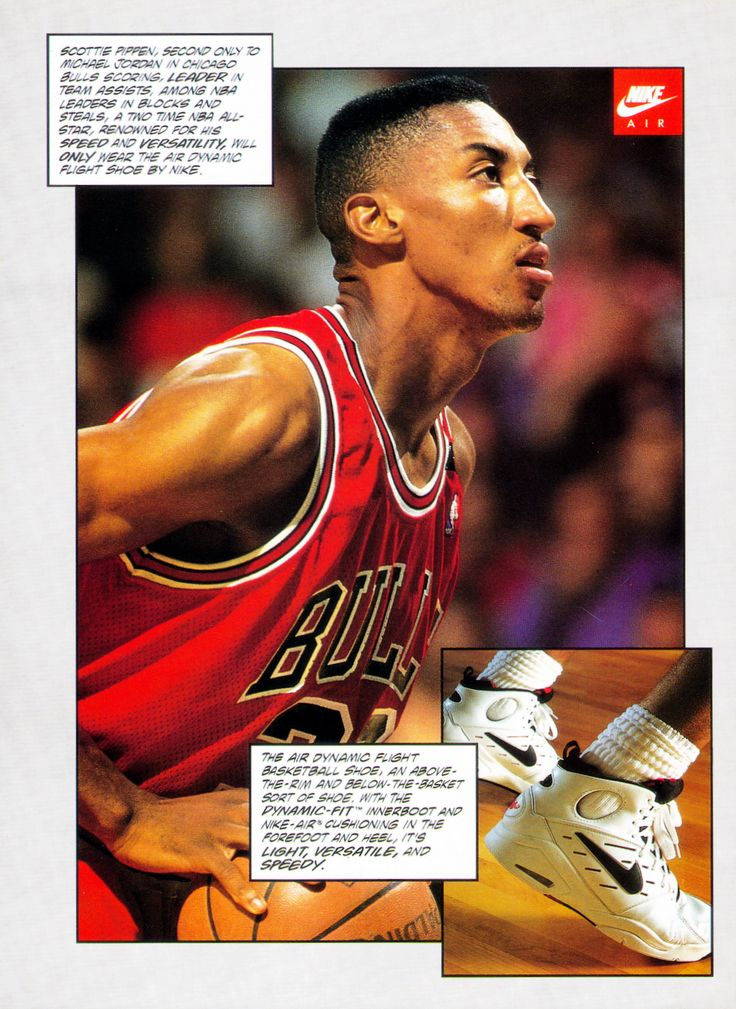 Vintage ad of Scottie Pippen in Nike's Air Dynamic Flight