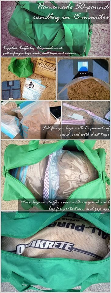 Homemade workout sandbag
