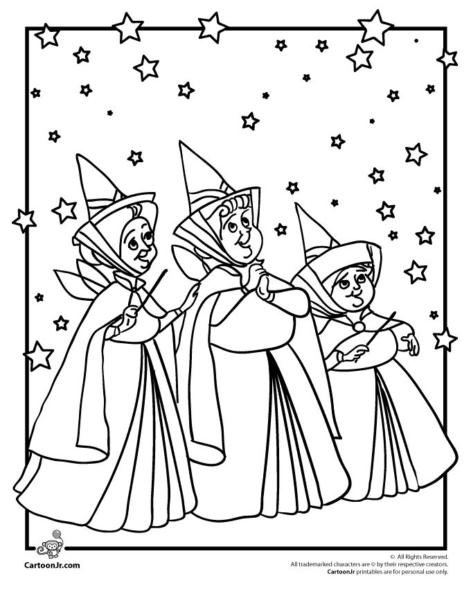 Sleeping Beauty Coloring Pages Disney's Sleeping Beauty Fairy Godmothers – Cartoon Jr.