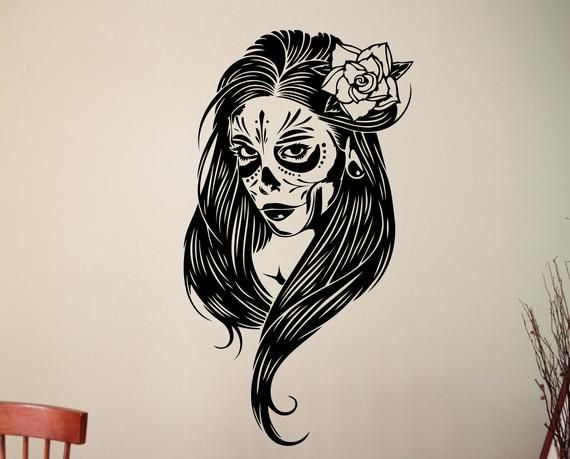 Woman Face Sugar Skull Wall Sticker Vinyl Decal Mexican